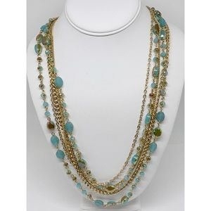 Premier Designs 5-strand Crystals & Chain Necklace